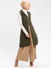 Khaki - Unlined - Shawl Collar - Vest