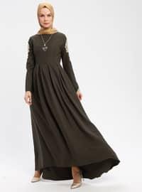 Khaki - Crew neck - Half Lined - Dresses