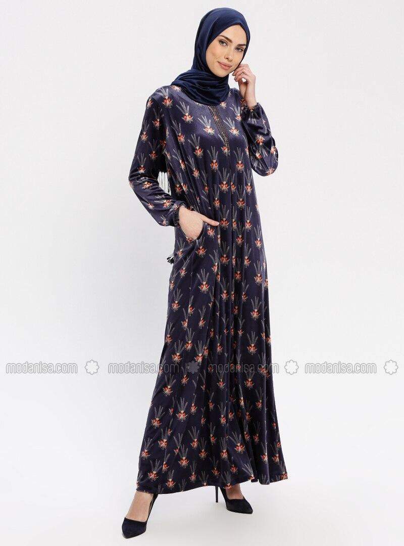 Navy Blue - Floral - Unlined - Crew neck - Plus Size Dress