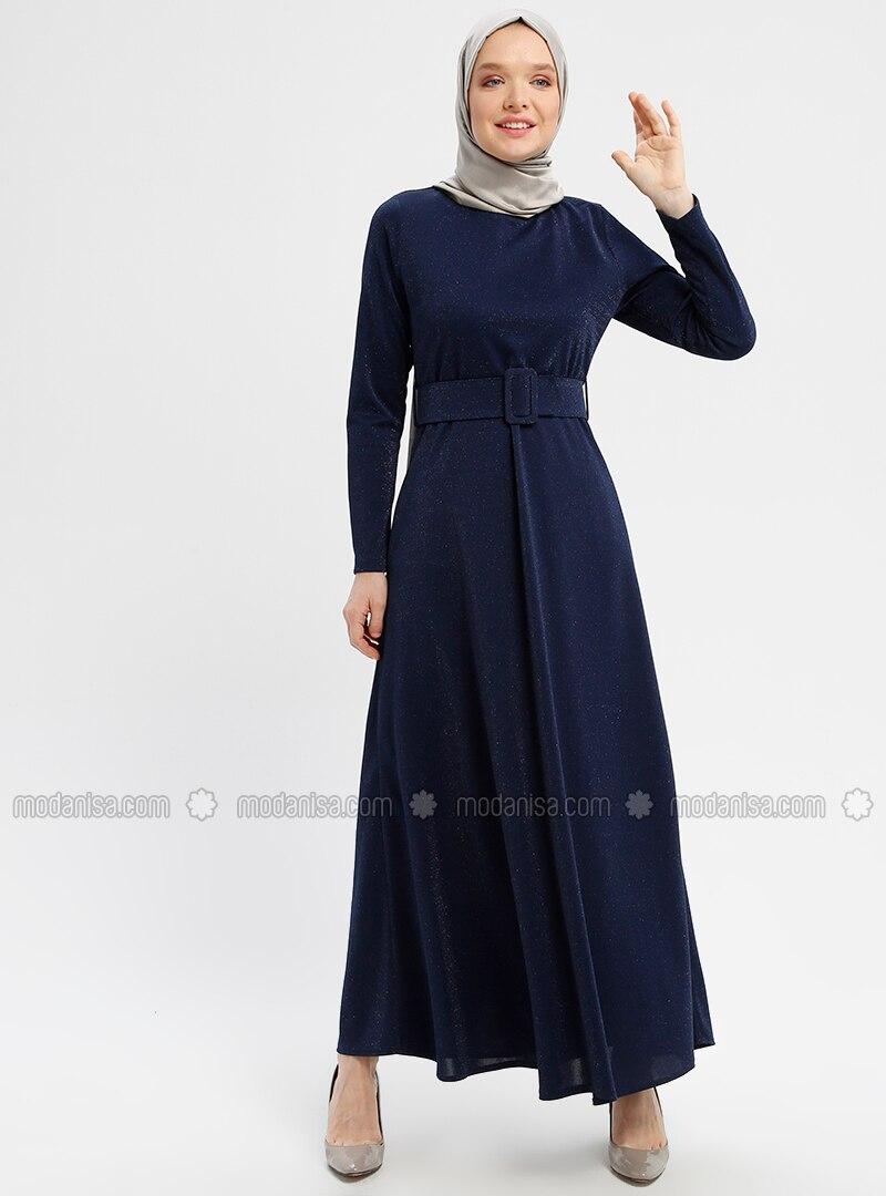 Navy Blue , Crew neck , Unlined , Dresses