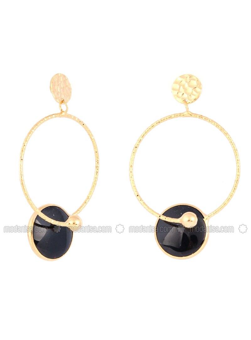 Black - Yellow - Golden tone - Earring