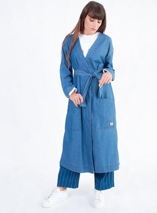 Blue - Unlined - Cotton - Abaya