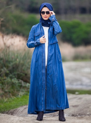 Blue - Fully Lined - Polo neck - Denim - Topcoat