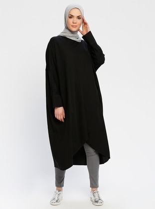 Black - Crew neck - Cotton - Denim - Tunic