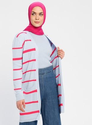 Blue - Fuchsia - Stripe - Cardigan - Zentoni