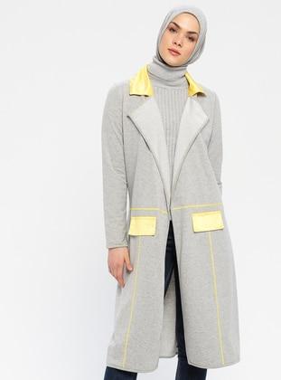 Yellow - Gray - Shawl Collar - Topcoat