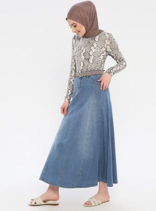 Blue - Unlined - Denim - Skirt