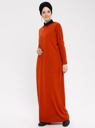 Terra Cotta - Crew neck - Unlined - Acrylic -  - Dresses