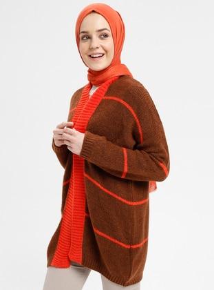 Brown - Orange - Stripe -  - Cardigan