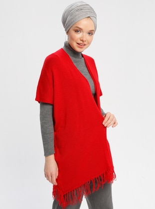 Red - Unlined -  - Poncho