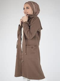 Brown - Unlined - Cotton - Topcoat