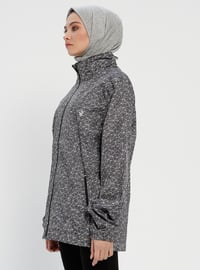 Gray - Multi - Fully Lined - Polo neck - Trench Coat