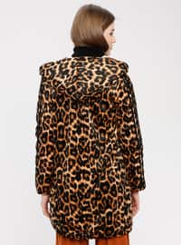 Brown - Leopard - Fully Lined - Puffer Jackets