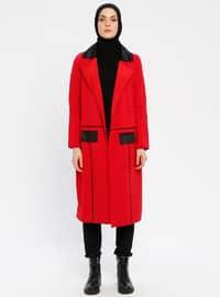 Red - Black - Shawl Collar - Topcoat