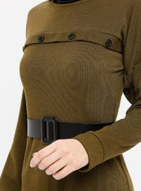 Khaki - Crew neck - Unlined - Dresses