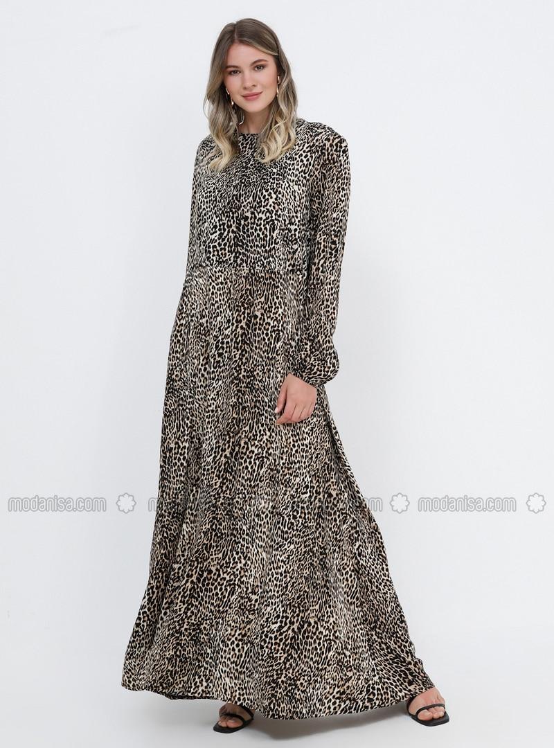 Brown - Leopard - Unlined - Crew neck - Viscose - Plus Size Dress