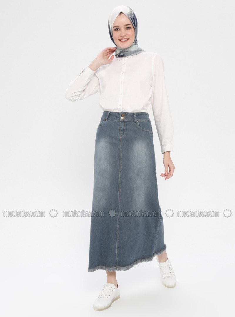 Gray - Unlined - Cotton - Denim - Skirt