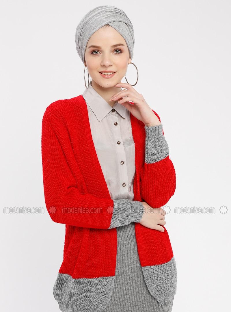41c135094aa Red - Gray - V neck Collar - - Cardigan