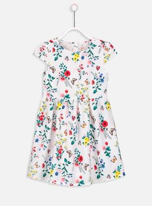 Ecru - Printed - Age 8-12 Dress