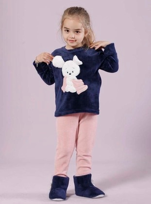 Navy Blue - Girls` Pyjamas - Siyah inci