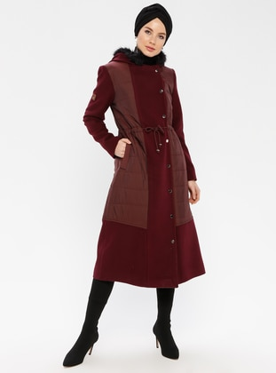 Maroon - Fully Lined - Nylon - Coat - Nihan