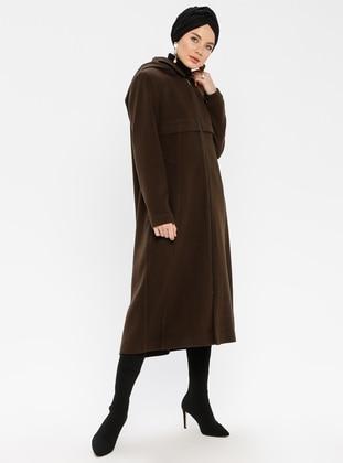 Khaki - Fully Lined - Point Collar - Coat - Nihan