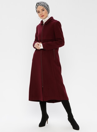 Plum - Fully Lined - Point Collar - Coat