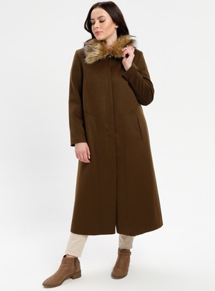 Khaki - Fully Lined - Point Collar - Plus Size Coat - Nihan