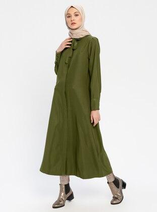 Khaki - Unlined - Round Collar - Cotton - Viscose - Abaya