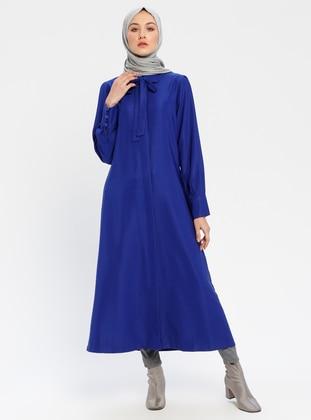 Saxe - Unlined - Round Collar - Cotton - Viscose - Abaya