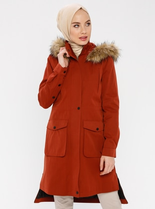 Terra Cotta - Fully Lined - Polo neck - Cotton - Coat