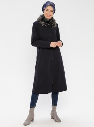 Navy Blue - Fully Lined - Point Collar - Coat