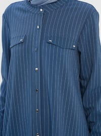 Petrol - Stripe - Button Collar - Tunic