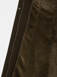 Khaki - Fully Lined - Button Collar - Coat