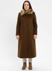 Khaki - Fully Lined - Point Collar - Plus Size Coat