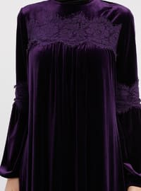 Plum - Crew neck - Unlined - Dresses