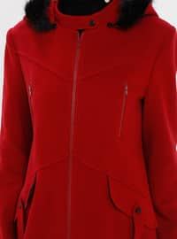 Red - Fully Lined - Button Collar - Coat