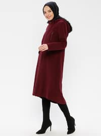 Plum - Fully Lined - Button Collar - Coat