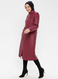 Cherry - Fully Lined - Button Collar - Coat