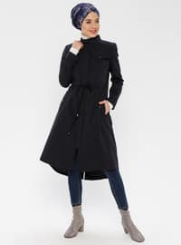 Navy Blue - Fully Lined - Button Collar - Coat