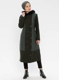 Khaki - Fully Lined - Nylon - Coat