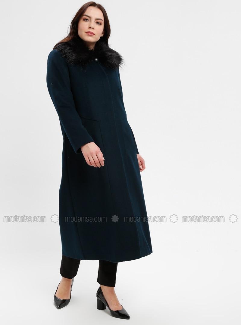 Navy Blue - Indigo - Fully Lined - Point Collar - Plus Size Coat