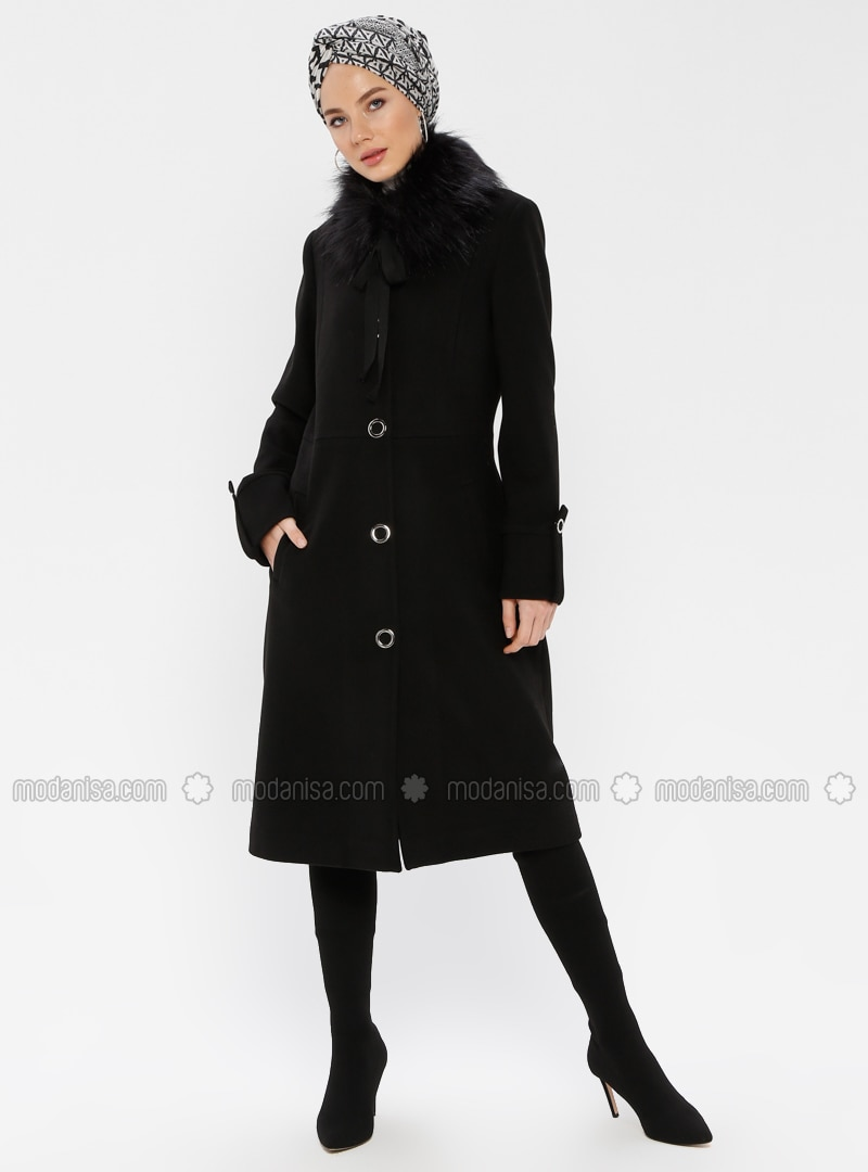 Black - Fully Lined - Crew neck - Coat