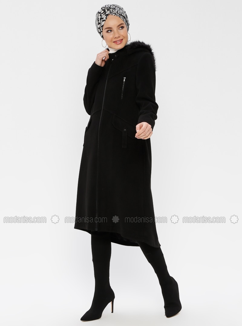 Black - Fully Lined - Button Collar - Coat