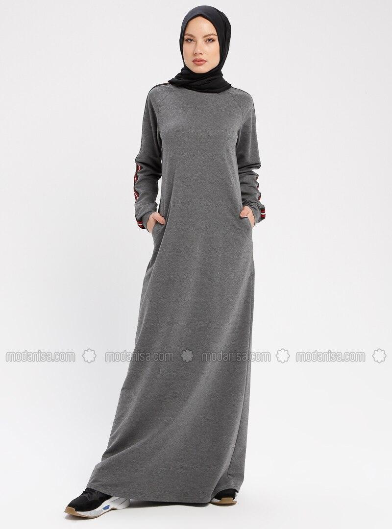 Smoke-coloured - Crew neck - Unlined - Dresses