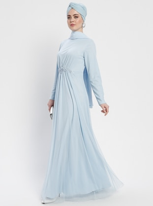 Baby Blue - Unlined - Crew neck - Muslim Evening Dress