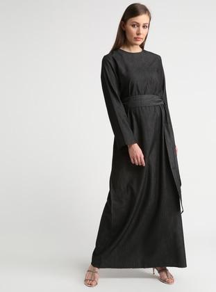 Black - Crew neck - Unlined - Cotton - Dresses