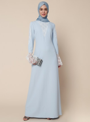 Blue - Ecru - Unlined - Polo neck - Muslim Evening Dress