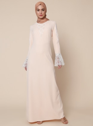 Black - Ecru - Unlined - Polo neck - Muslim Evening Dress