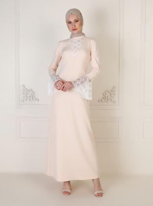 Black - Ecru - Unlined - Polo neck - Muslim Evening Dress